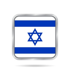 Flag of israel shiny metallic gray square button vector