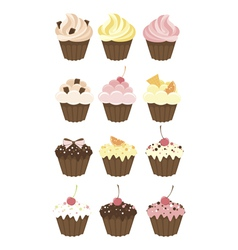 Set of muffins vector image
