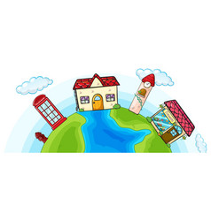 House and shops on earth vector
