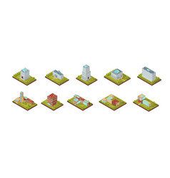 University building isometric set vector