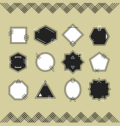 Trendy black and white line blank emblems set vector