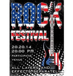 Rock festival design template with guitar vector