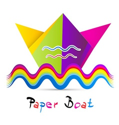 Colorful paper boat isolated on white background vector