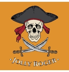 Jolly roger skull in the cocked hat with two vector