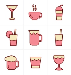 Icons style drink icons set design vector