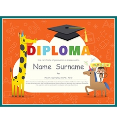 Primary school kids diploma certificate vector