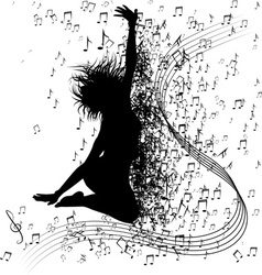 Silhouette of a jumping girl surronded by music vector