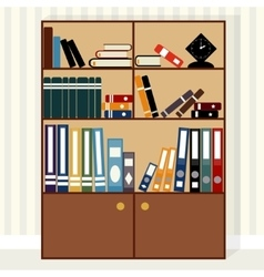 Bookcase flat design vector