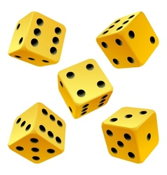 Yellow dice set vector
