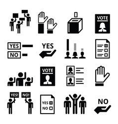 Democracy voting politics icon set vector