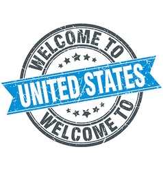 Welcome to united states blue round vintage stamp vector