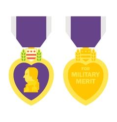 Flat design purple heart medal vector image