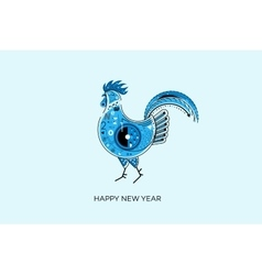 Abstract blue rooster symbol of 2017 on the vector