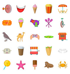 Amusement park icons set cartoon style vector