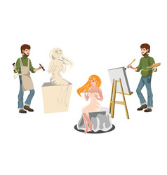 artist and sculptor with model vector image vector image