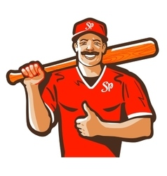 Baseball logo player or sport icon vector