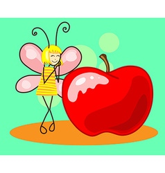 Beautiful butterfly to the apple vector image vector image