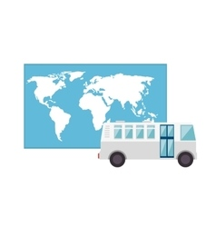 Bus and world map vector
