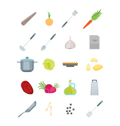 cartoon cooking dishes set vector image