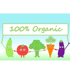 cartoon vegetables with sign Organic vector image