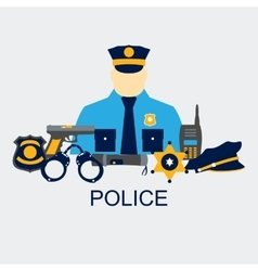 Color line set collection icons of police vector
