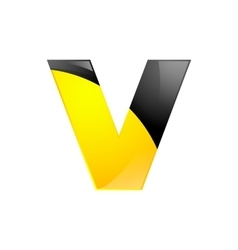 Creative yellow and black symbol letter v for your vector
