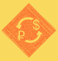 currency exchange sign ruble and us dollar vector image vector image