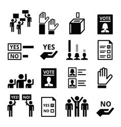 Democracy voting politics icon set vector image