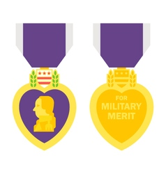 Flat design purple heart medal vector