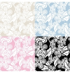 Floral hand drawn seamless pattern set vector