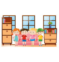 four happy children in the room vector image vector image