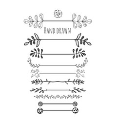 hand drawn floral elements collection hand drawn vector image