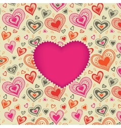 Happy Valentines Day card with pink heart vector image