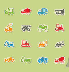Industrial transport icon set vector