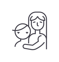 mother with childmotherhood line icon vector image vector image