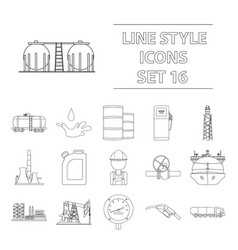 Oil industry set icons in outline style big vector