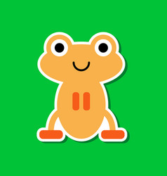 paper sticker on stylish background frog cartoon vector image