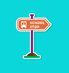 Paper sticker on stylish background school stop vector