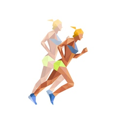 Polygonal woman athelette running vector