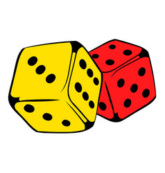 red and yellow dice icon icon cartoon vector image vector image
