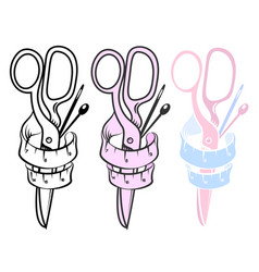 Scissors and needles for sewing vector