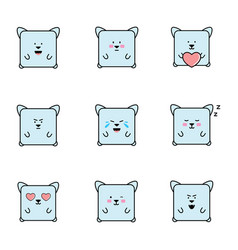 set of emoticons with cat personaje vector image