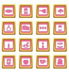 shop navigation foods icons pink vector image