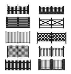 Silhouette black fence icon set vector