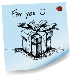 sketch drawing of gift on sticky paper vector image vector image