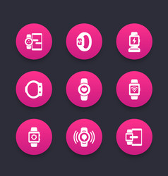 smart watch icons set wearable devices gadgets vector image vector image