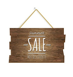 Summer sale wooden board vector
