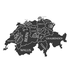 switzerland map labelled black in german language vector image vector image