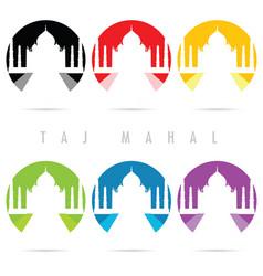 Taj mahal icon set in color art vector