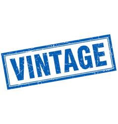 Vintage blue square grunge stamp on white vector